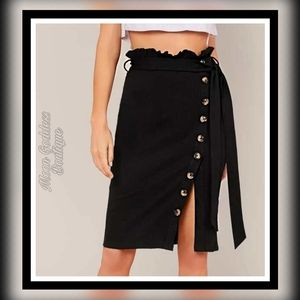 Paperbag Waist Belted Single Breasted Wrap Skirt